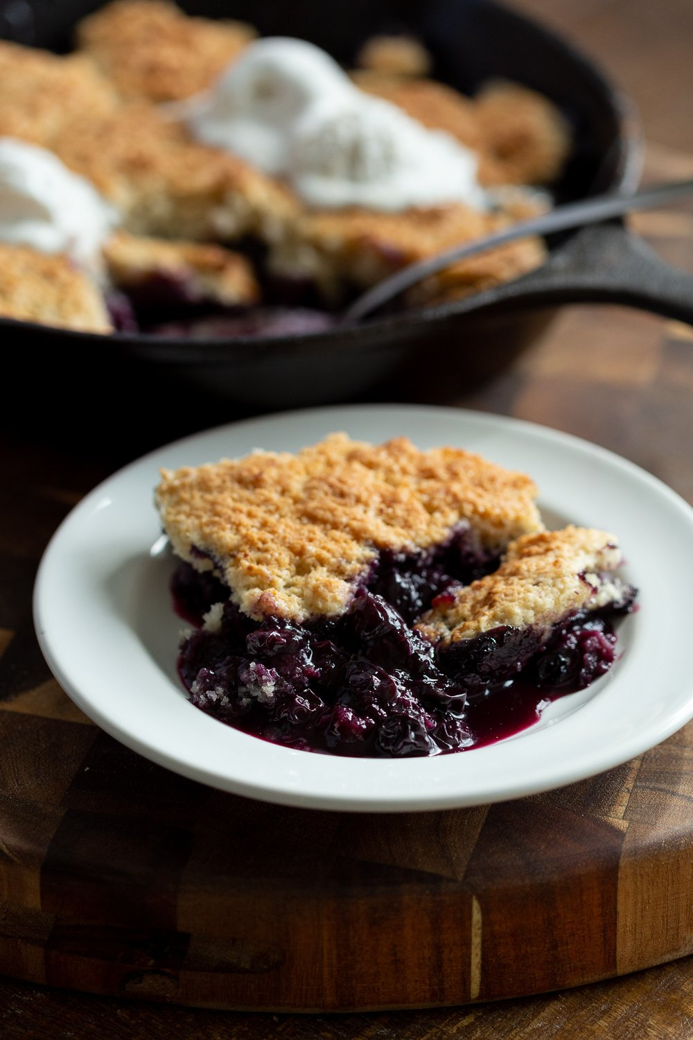 Our Vegan Blueberry Cobbler in white plate