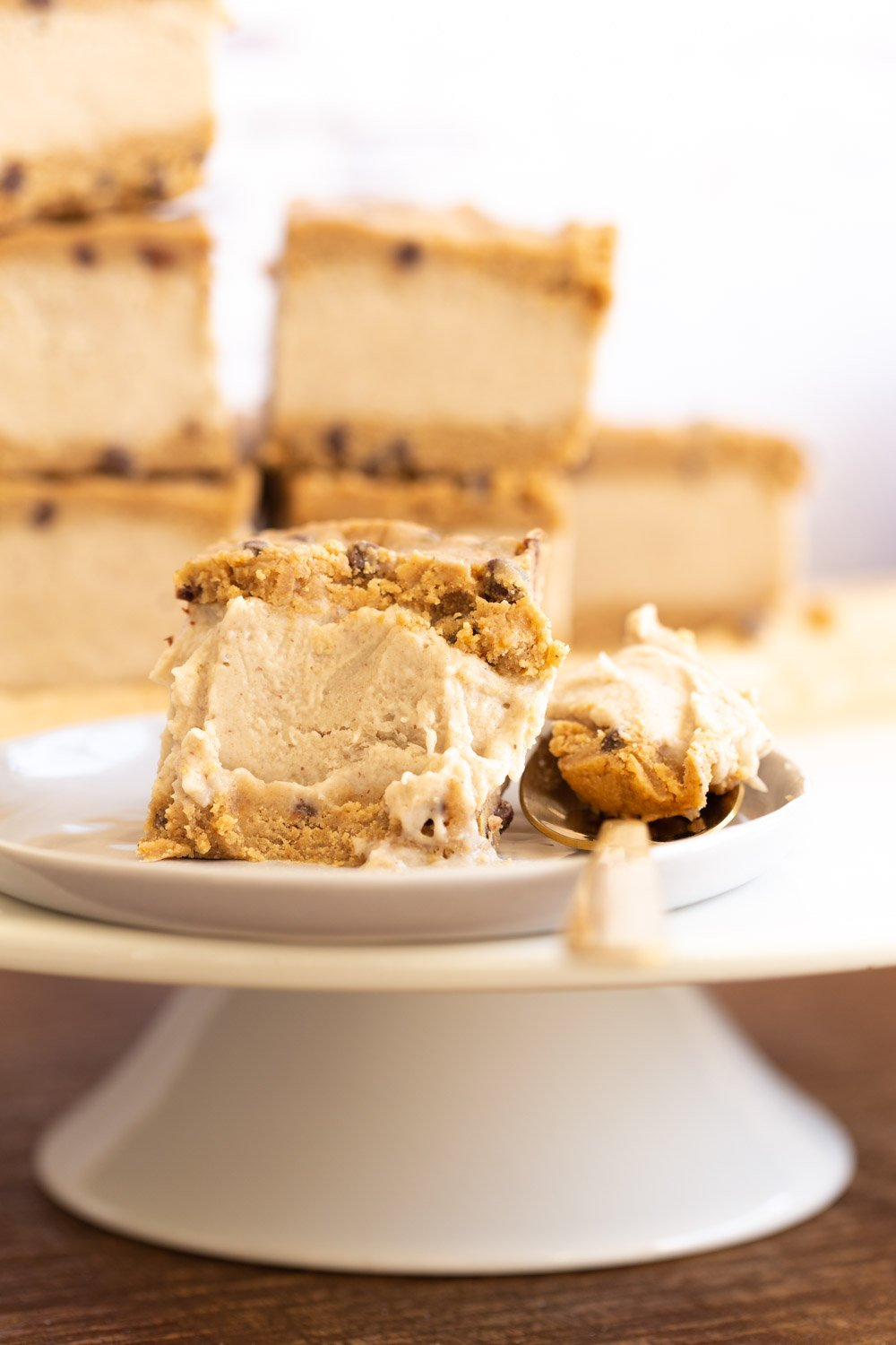 Vegan Cookie Dough Ice Cream Sandwiches on white plate
