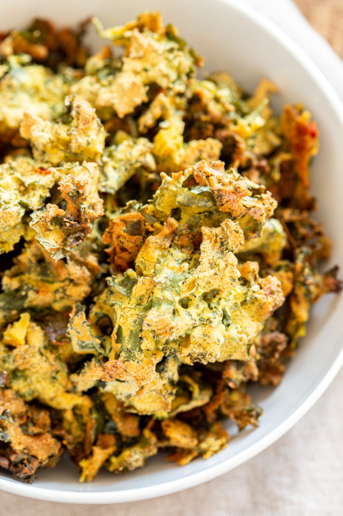 Kale Pakora, in a white bowl