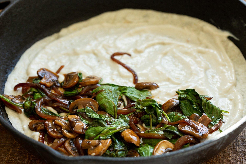 Mushroom Spinach mixture on the cashew mozzarella for our Vegan Mushroom Quesadilla