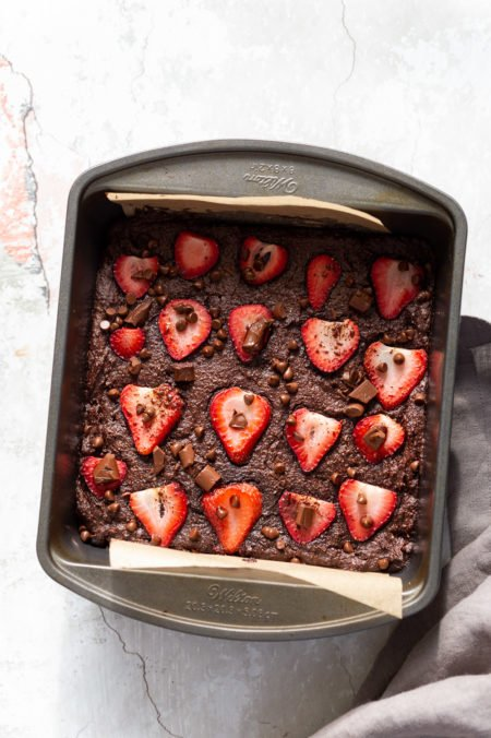 Our Vegan Glutenfree Grainfree Strawberry Brownies in a grey brownie pan