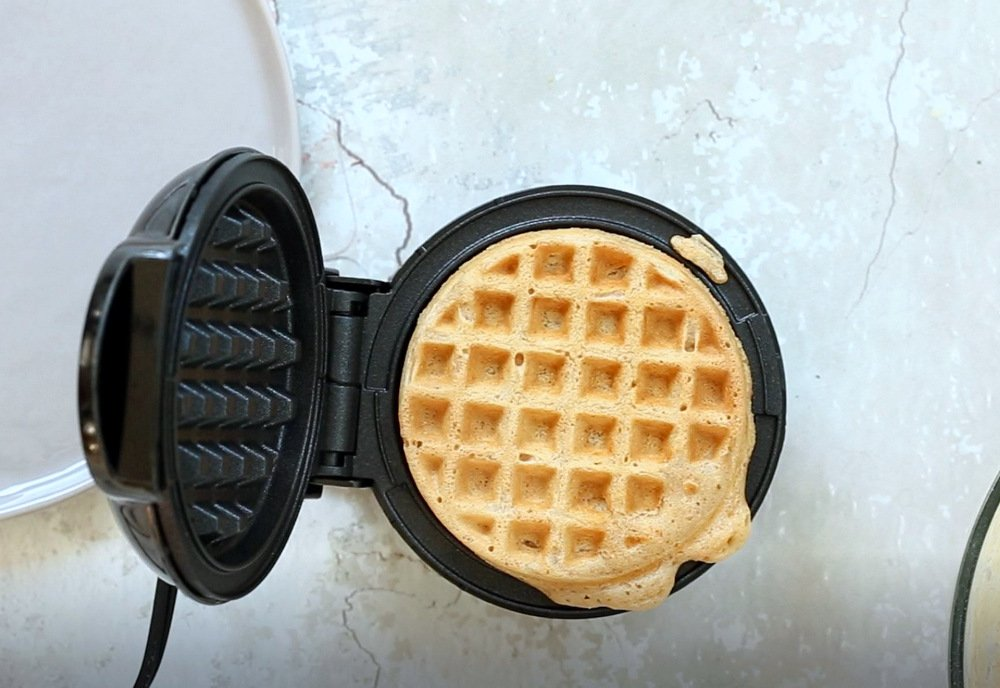 Our Vegan Waffles cooked in a waffle maker