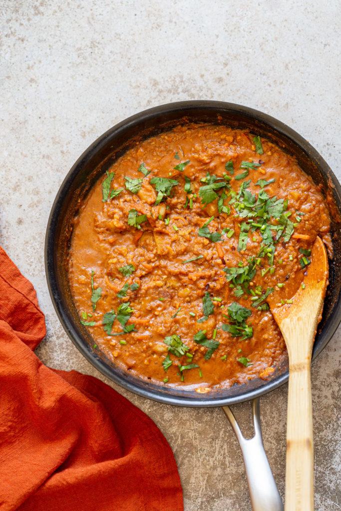 Vegan Keema Madras on a black skillet