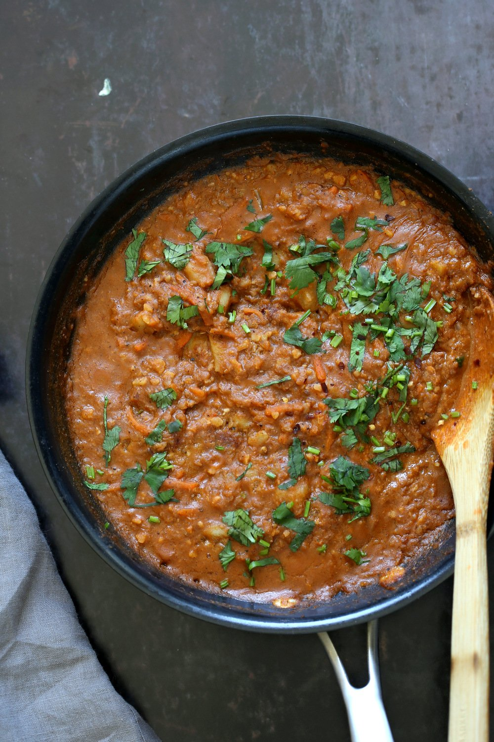 Vegan Keema Madras on a black skillet
