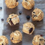 Vegan Blueberry Muffins on grey napkin