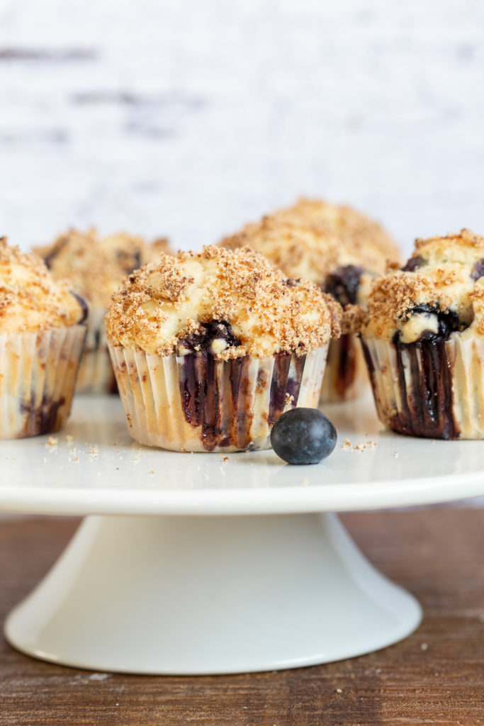 Vegan Blueberry Muffins on cake stand