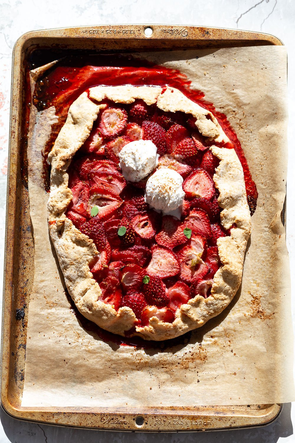 Vegan Strawberry Galette on parchment