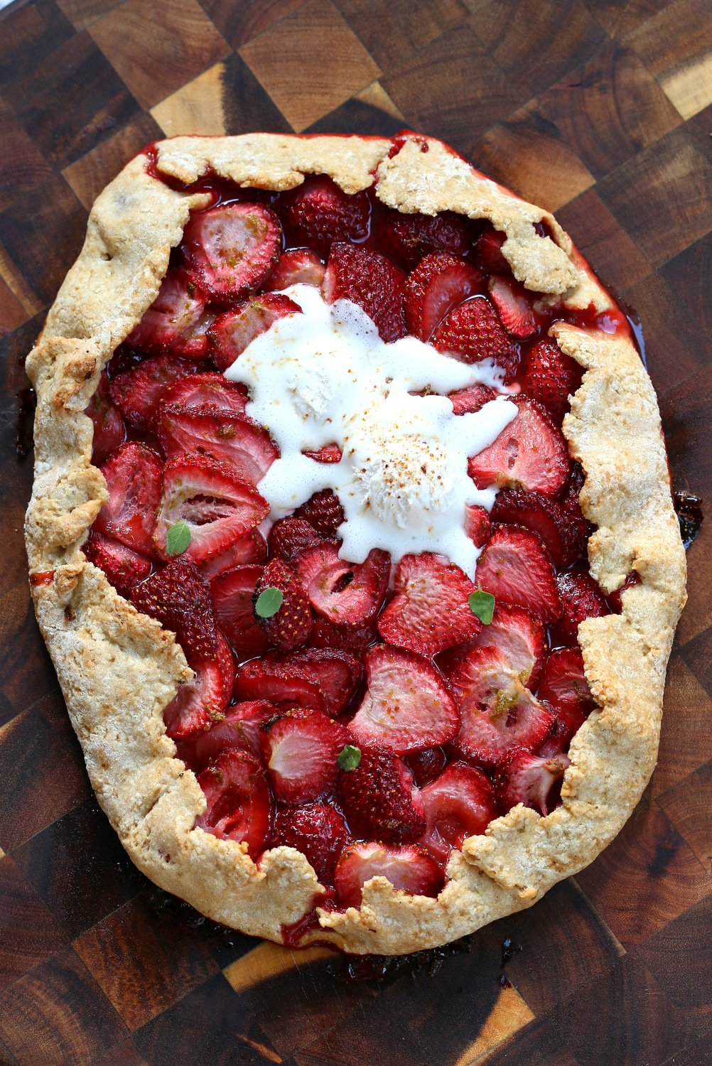 Vegan Strawberry Galette on wood board