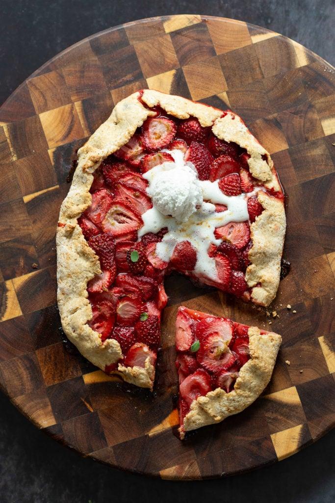 Vegan Strawberry Galette on wood board