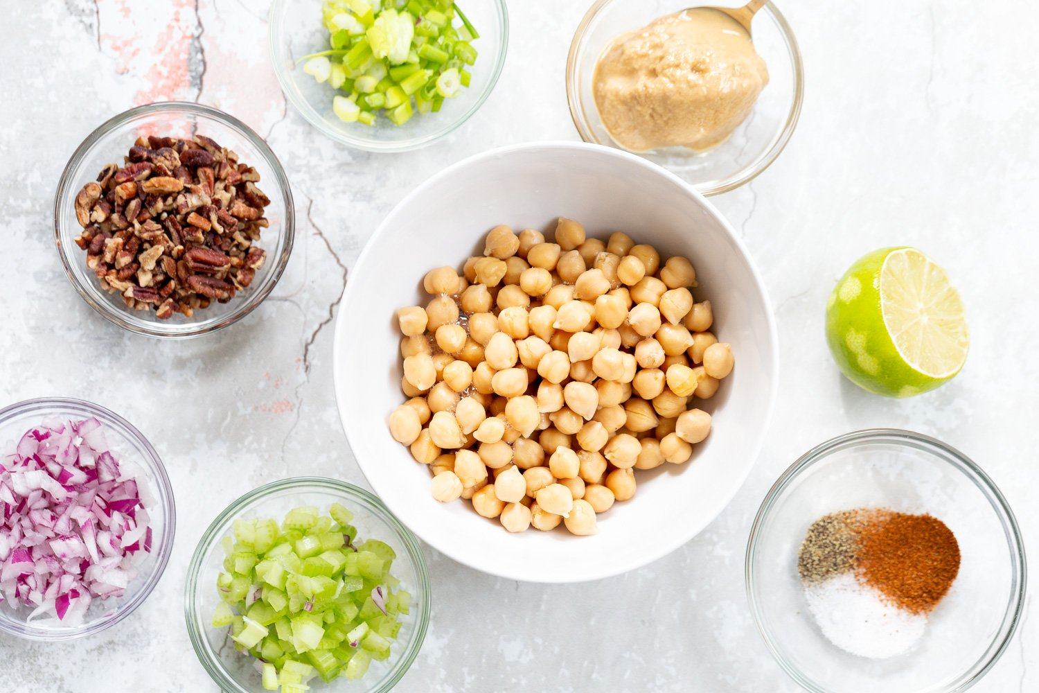 Ingredients for our Chickpea Tahini Salad Sandwich in Bowls