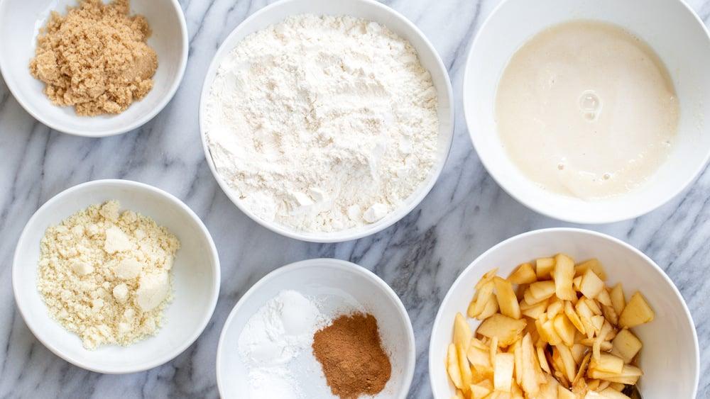 Ingredients for our Vegan Apple Cinnamon Scones in bowls