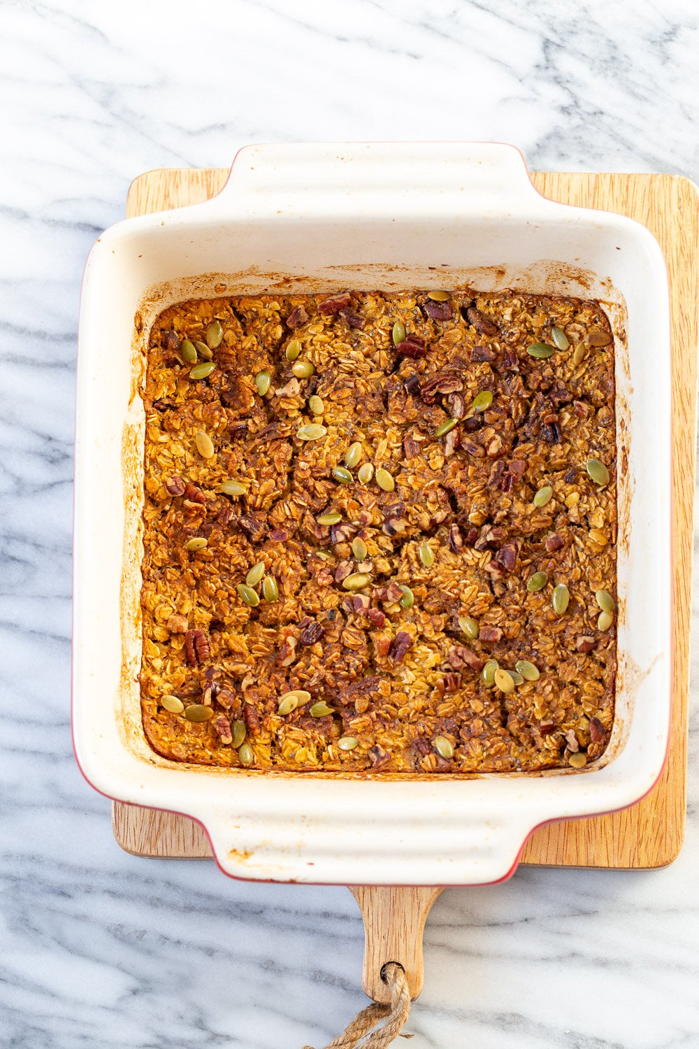 Our Vegan Pumpkin Baked Oatmeal in a Baking dish