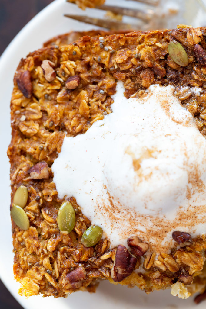 Our Vegan Pumpkin Baked Oatmeal on white plate
