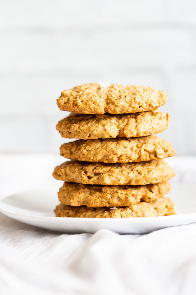 Our Vegan Gluten-free Tahini Oatmeal Cookies on a white plate