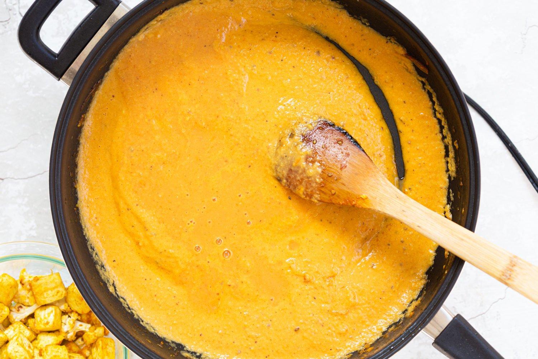 Kohlapuri Sauce in a Black skillet