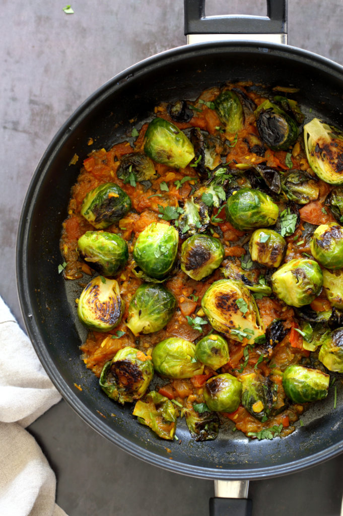 Our Curried Caramelized Brussels Sprouts in Black Skillet