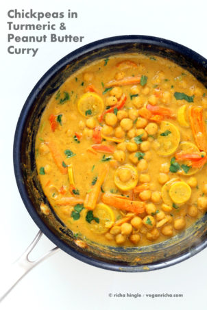 Chickpea turmeric Peanut Butter Curry in a skillet| Vegan Curry Recipes #veganricha