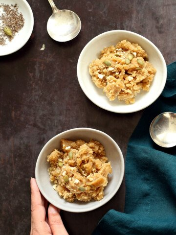 Vegan Almond Halwa - Instant Pot Badam Halwa in white and grey bowls