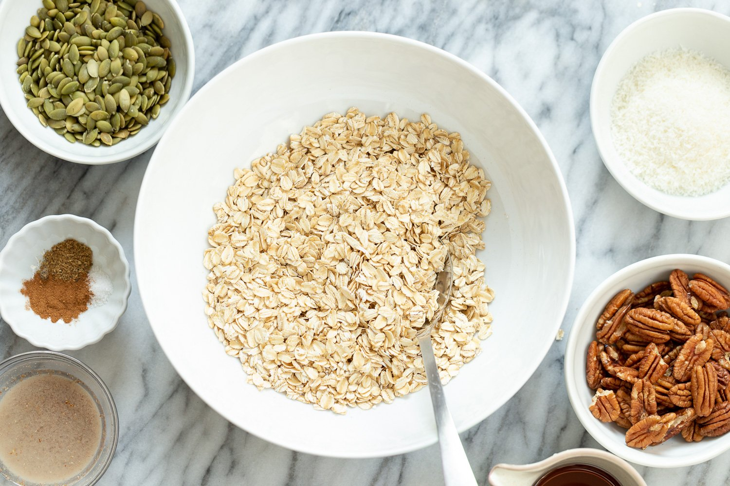Ingredients for our Maple Pecan Granola in Bowls