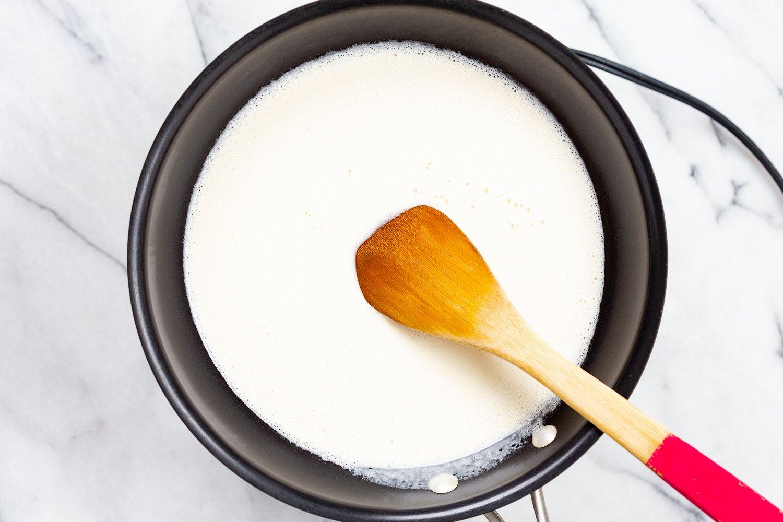 Blended Vegan Mozzarella in a skillet