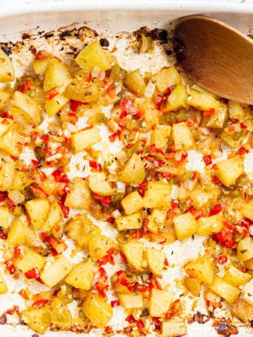 Breakfast Potatoes in a white baking dish