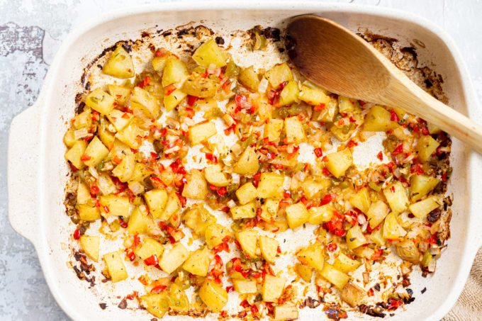 Breakfast Potatoes in a white baking dish