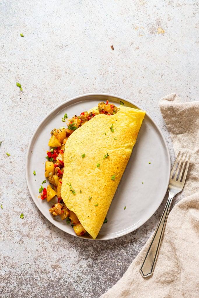 Vegan Omelet with Breakfast potatoes