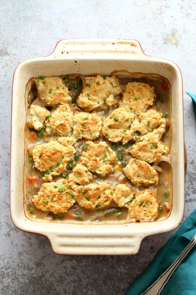 Our Vegan Pot Pie in an off- white baking dish