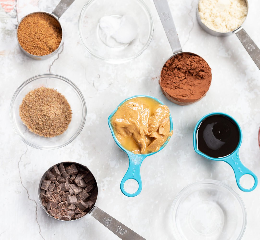 Ingredients for Vegan Brownie Cookies in Bowls and measuring cups