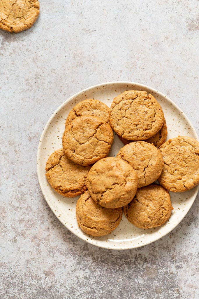 Our Chai Spice Tahini Cookies Nut free on a white plate