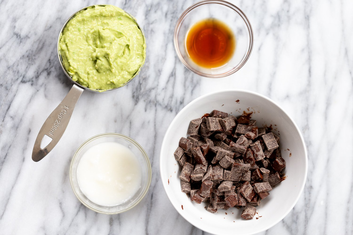 Ingredients for Vegan Chocolate Avocado freezer Fudge