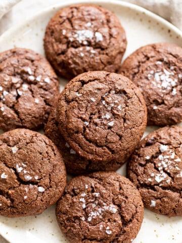 Vegan Brownie Cookies on white plate