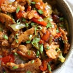 Vegan General Tso Soy curls in a speckled bowl