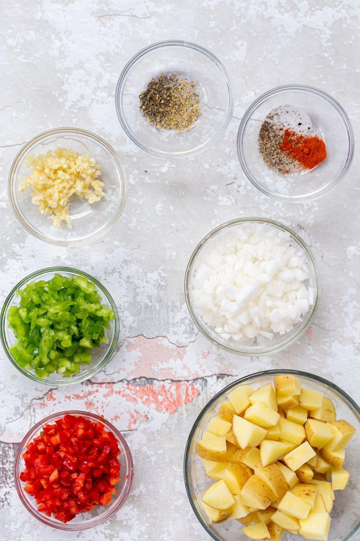 ingredients for making vegan breakfast potatoes