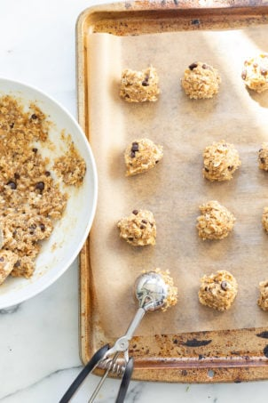 Vegan Breakfast Cookies on parchment lined baking sheet