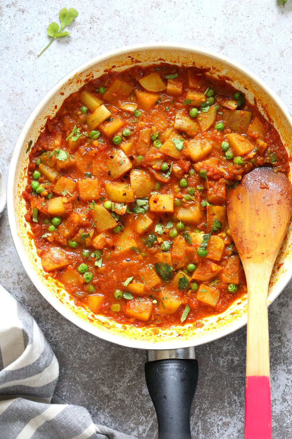 Aloo Matar Indian Peas Potatoes In Tomato Gravy Vegan