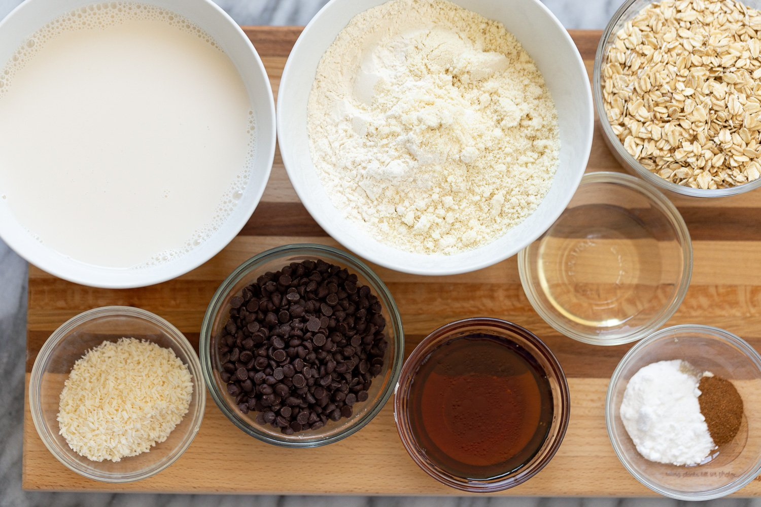 overhead shot of ingredients needed for making vegan chocolate chip waffles