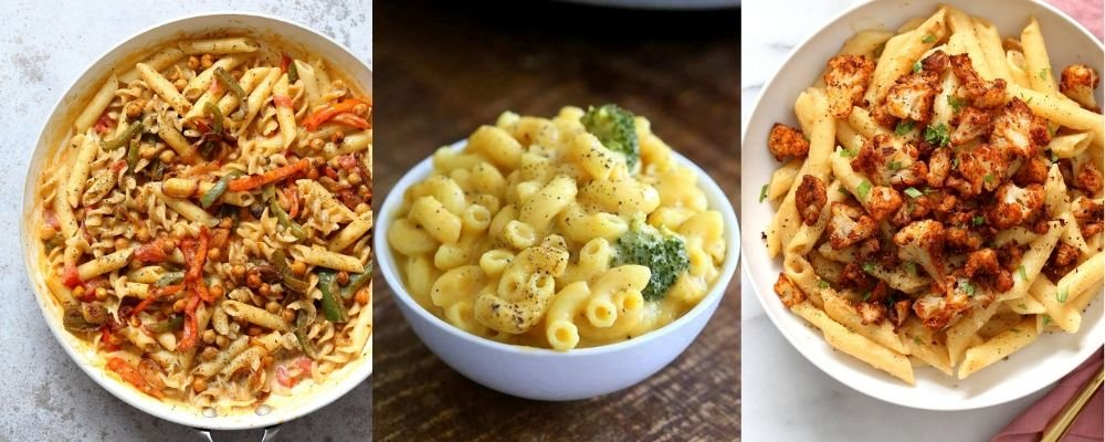 collage of vegan pasta dishes perfect for cooking during quarantine