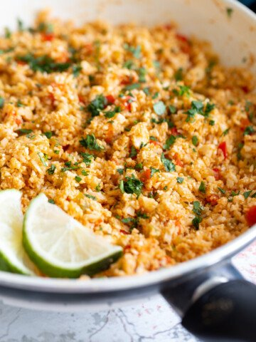 side view of Spanish cauliflower rice in a pan