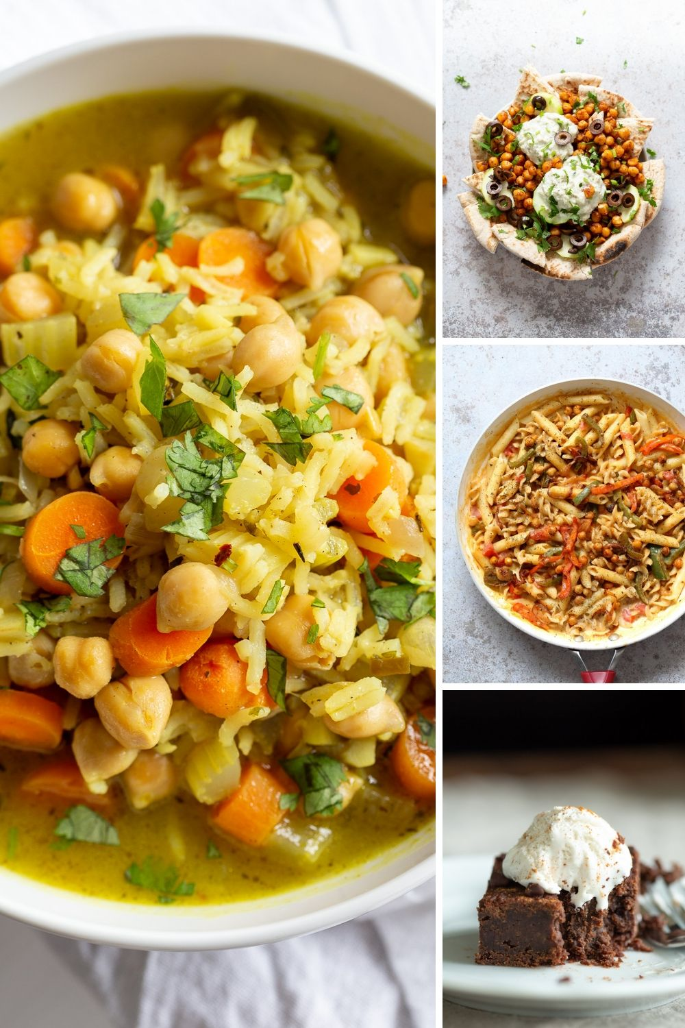 picture collage with vegan pantry recipes for self quarantine