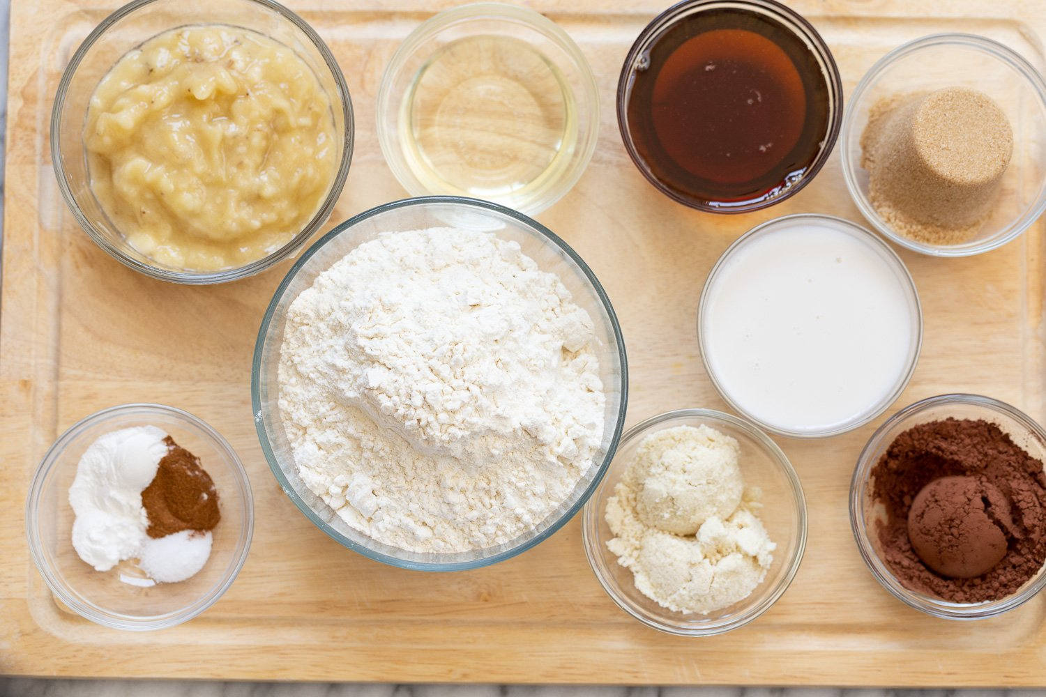 overhead shot of ingredients used for making vegan chocolate banana bread