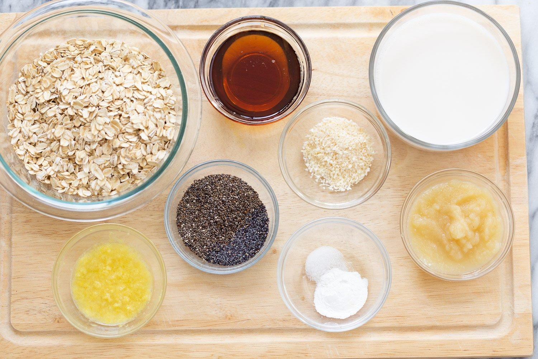 overhead shot of ingredients needed for making vegan baked oatmeal