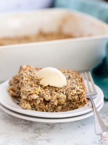 side view of a serving of baked lemon poppy seed baked oatmeal