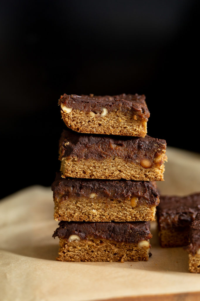 side view of a stack of vegan snickers snack bars