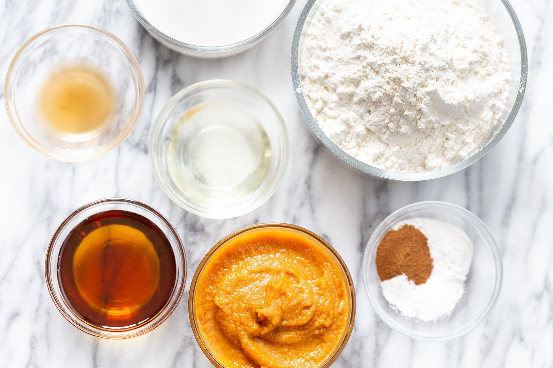 overhead shot of ingredients needed making vegan no yeast cinnamon rolls