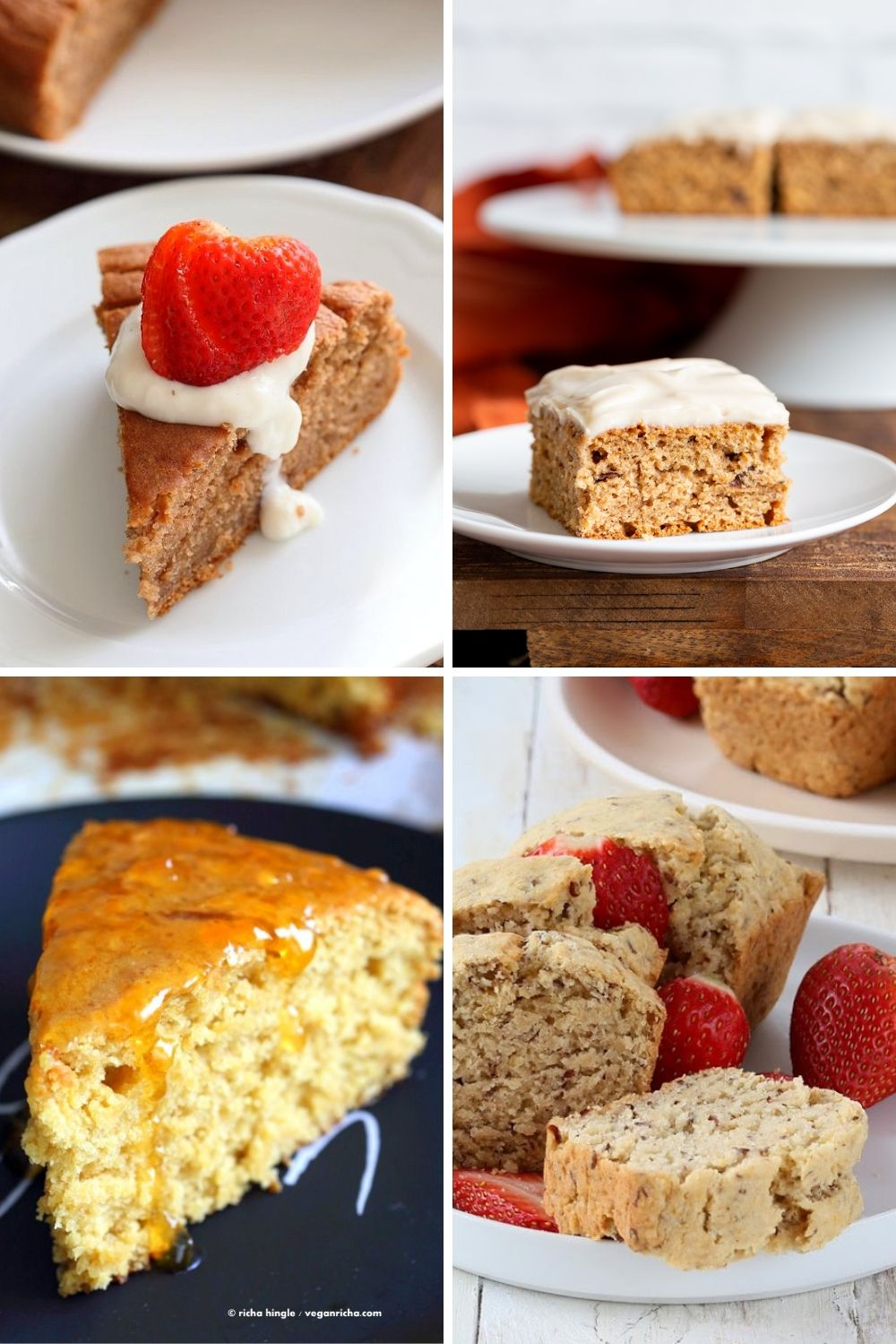 a collage of vegan eggless cakes