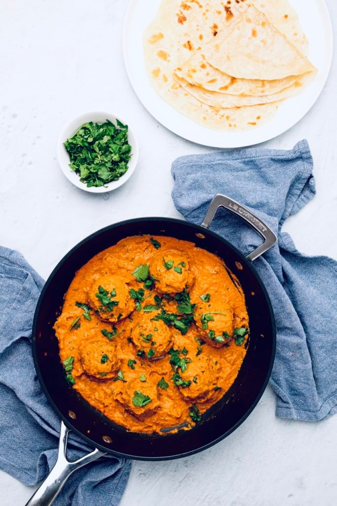 vegan malai kofta in a black skillet