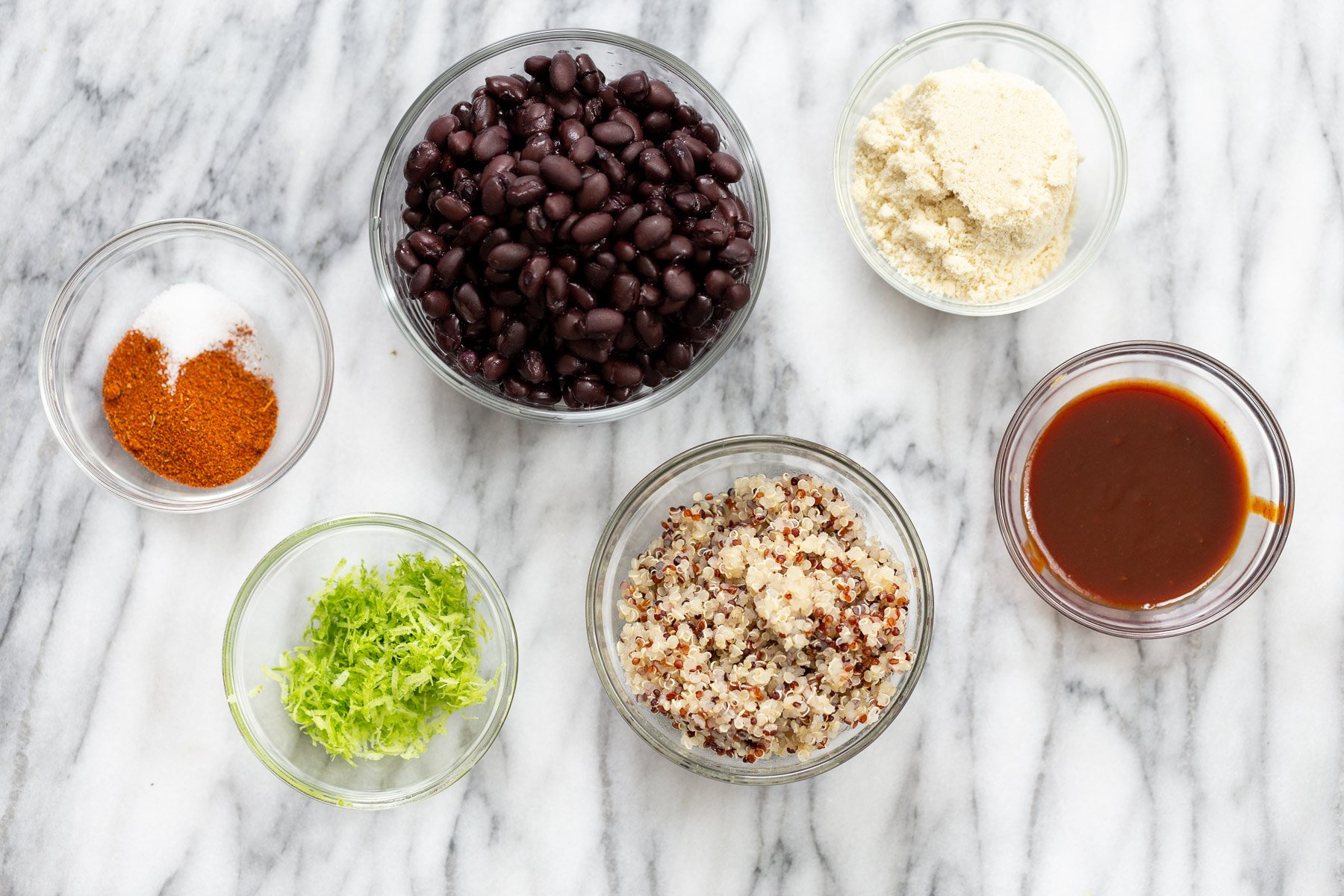 overhead shot of ingredients used for making black bean quinoa burger patties