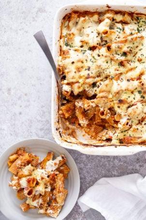 vegan baked rigatoni in a white casserole