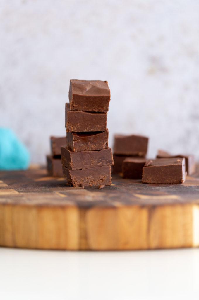 vegan chocolate fudge stacked
